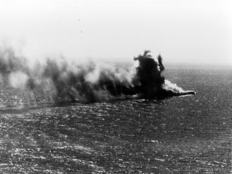Shoho burns following the Lexington attack, 7 May 1942