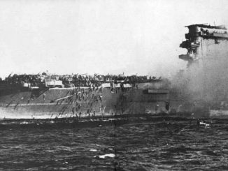 USS Lexington on fire and sinking in the Coral Sea