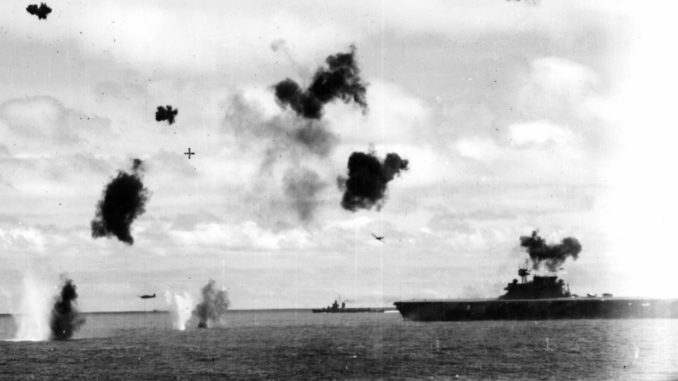 Yorktown under torpedo bomber attack